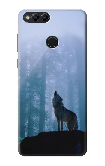 Printed Wolf Howling in Forest Huawei Honor 7X Case