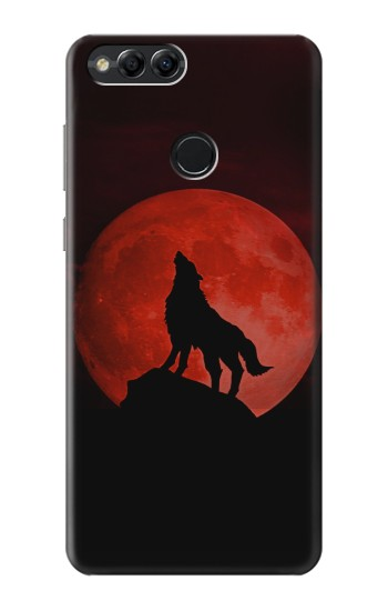 Printed Wolf Howling Red Moon Huawei Honor 7X Case