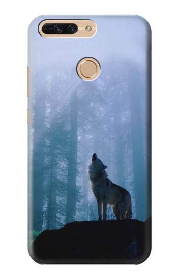 Printed Wolf Howling in Forest Huawei Ascend MATE7 Case