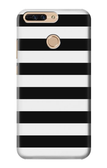 Printed Black and White Striped Huawei Ascend MATE7 Case