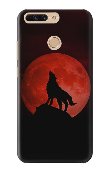 Printed Wolf Howling Red Moon Huawei Ascend MATE7 Case