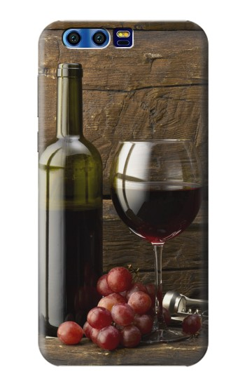 Printed Grapes Bottle and Glass of Red Wine BlackBerry Leap Case