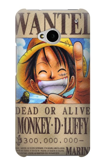 Printed One Piece Monkey D Luffy Wanted Poster HTC One M7 Case