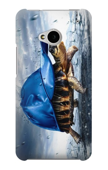 Printed Turtle in the Rain HTC One M7 Case