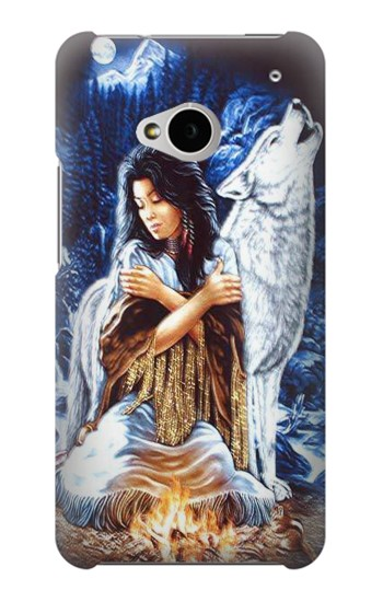 Printed Grim Wolf Indian Girl HTC One M7 Case