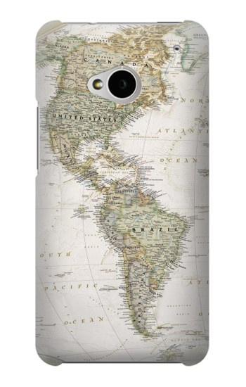 Printed World Map HTC One M7 Case