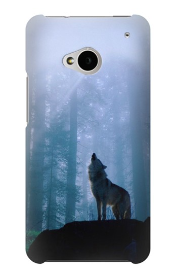 Printed Wolf Howling in Forest HTC One M7 Case