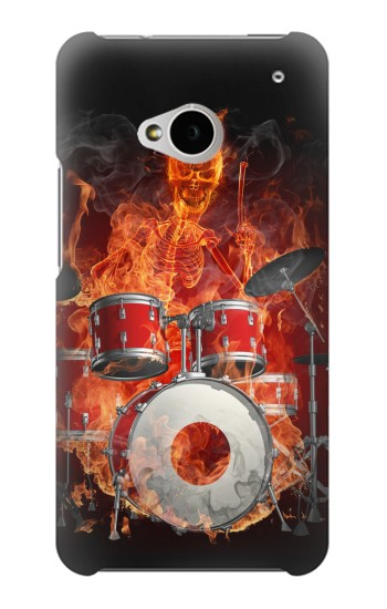 Printed Skull Drum Fire Rock HTC One M7 Case