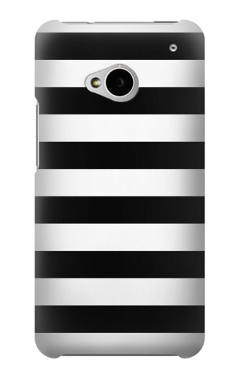 Printed Black and White Striped HTC One M7 Case