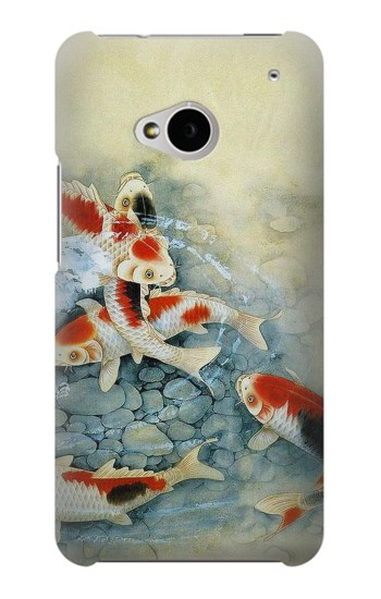 Printed Koi Carp Fish Art Painting HTC One M7 Case