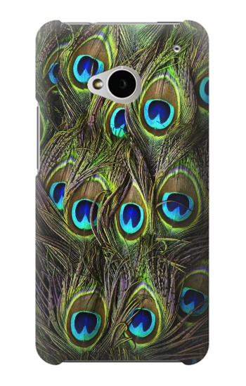 Printed Peacock Feather HTC One M7 Case