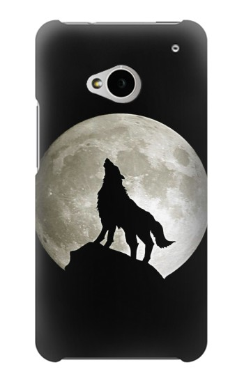 Printed Wolf Howling at The Moon HTC One M7 Case