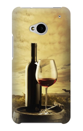 Printed A Grape Vineyard Grapes Bottle and Glass of Red Wine HTC One M7 Case