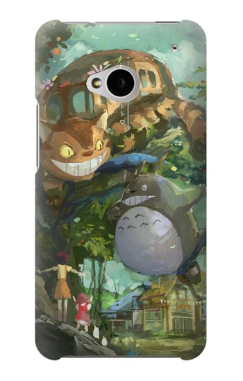 Printed My Neighbor Totoro Cat Bus HTC One M7 Case