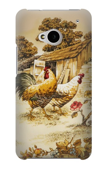 Printed French Country Chicken HTC One M7 Case