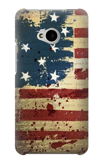 Printed Old American Flag HTC One M7 Case