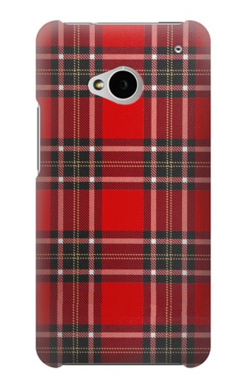 Printed Tartan Red Pattern HTC One M7 Case
