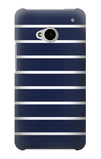 Printed Navy White Striped HTC One M7 Case