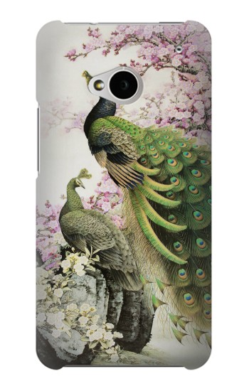 Printed Peacock Chinese Brush Painting HTC One M7 Case
