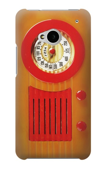 Printed Vintage Bakelite Radio Orange HTC One M7 Case