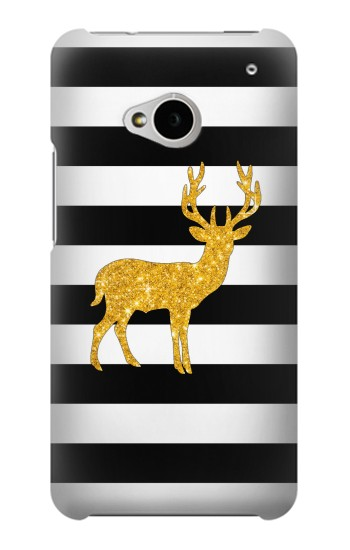 Printed Black and White Striped Deer Gold Sparkles HTC One M7 Case