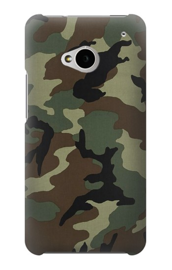 Printed Army Green Woodland Camo HTC One M7 Case