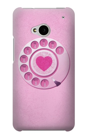 Printed Pink Retro Rotary Phone HTC One M7 Case