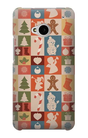 Printed Cute Xmas Pattern HTC One M7 Case