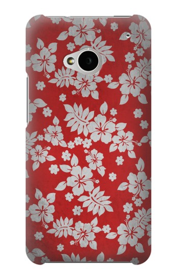 Printed Vintage Red Hawaiian Flower Pattern HTC One M7 Case