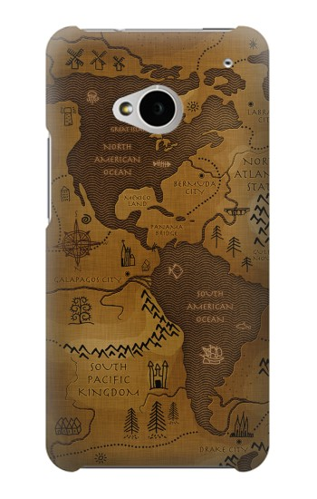 Printed Antique Style Map HTC One M7 Case