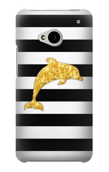 Printed Black and White Striped Dolphin Gold Glitter HTC One M7 Case