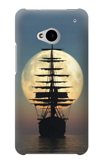Printed Pirate Ship Moon Night HTC One M7 Case