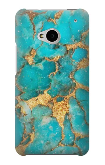 Printed Aqua Turquoise Stone HTC One M7 Case