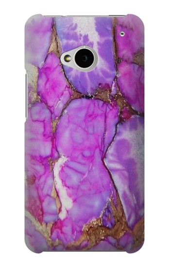 Printed Purple Turquoise Stone HTC One M7 Case