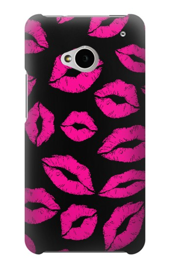 Printed Pink Lips Kisses on Black HTC One M7 Case