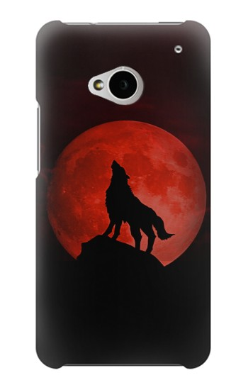 Printed Wolf Howling Red Moon HTC One M7 Case