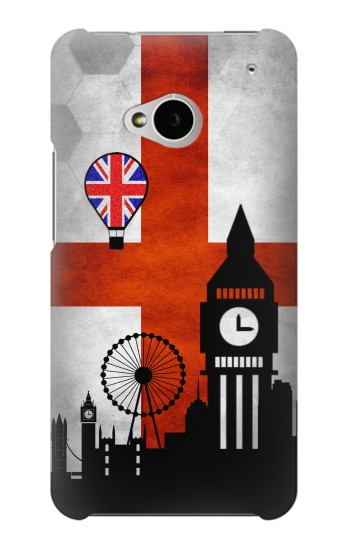 Printed England Football Flag HTC One M7 Case