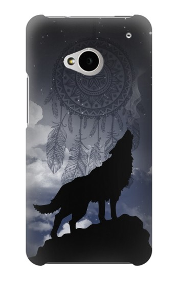 Printed Dream Catcher Wolf Howling HTC One M7 Case