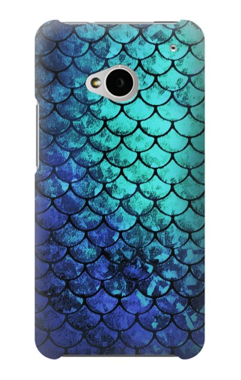 Printed Green Mermaid Fish Scale HTC One M7 Case