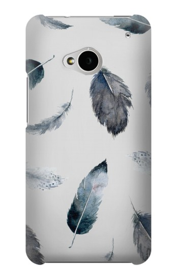 Printed Feather Paint Pattern HTC One M7 Case