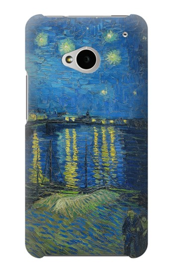 Printed Van Gogh Starry Night Over Rhone HTC One M7 Case