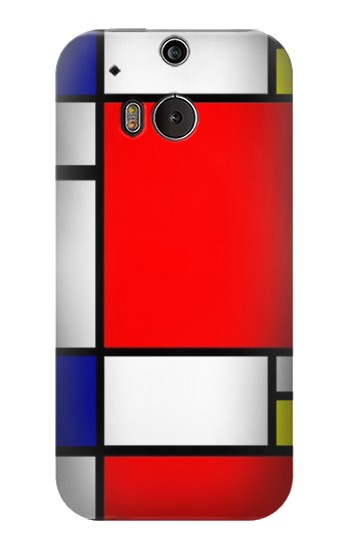 Printed Composition Red Blue Yellow HTC One M8 Case