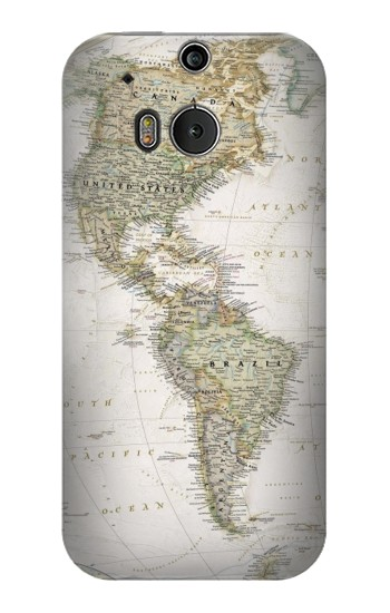 Printed World Map HTC One M8 Case