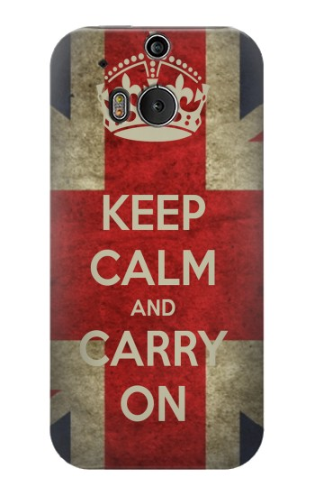 Printed Keep Calm and Carry On HTC One M8 Case