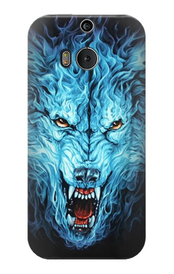 Printed Blue Fire Grim Wolf HTC One M8 Case