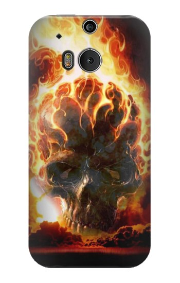 Printed Hell Fire Skull HTC One M8 Case
