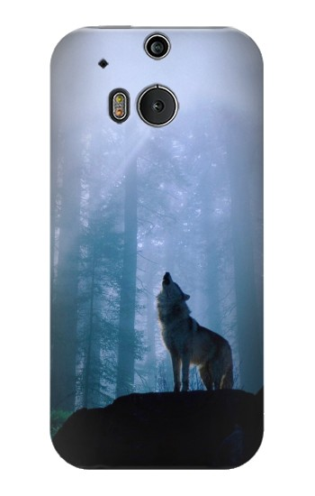 Printed Wolf Howling in Forest HTC One M8 Case