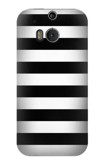 Printed Black and White Striped HTC One M8 Case