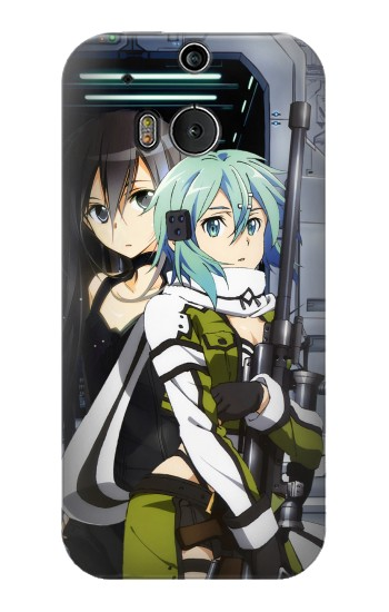 Printed Sword Art Online Gun Gale Online Sinon Kirito HTC One M8 Case