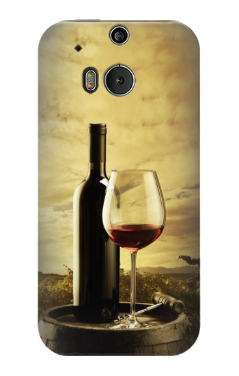 Printed A Grape Vineyard Grapes Bottle and Glass of Red Wine HTC One M8 Case